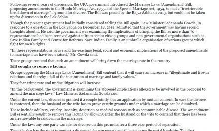 Bill to make divorce easier may be dropped – The Hindu