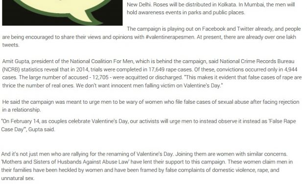TOI – Beware of Valentine's Day NGOs run awareness campaign ValentineRapesMen