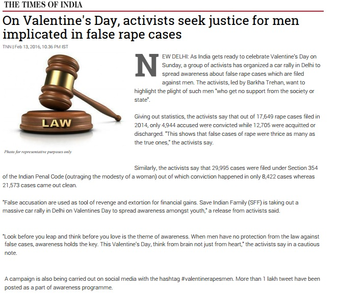 TOI – On Valentine's Day, activists seek justice for men implicated in false rape cases